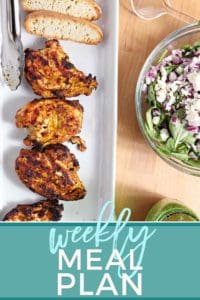 Pinterest graphic for Dinner Divas Weekly Meal Plan 67, featuring Grilled Chicken Shawarma