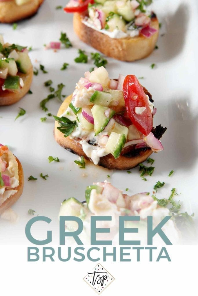 Pinterest graphic for Greek Bruschetta, featuring a close up of the final dish and text