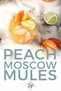 Pinterest graphic for Peach Moscow Mule, featuring an overhead image of the drink and text.