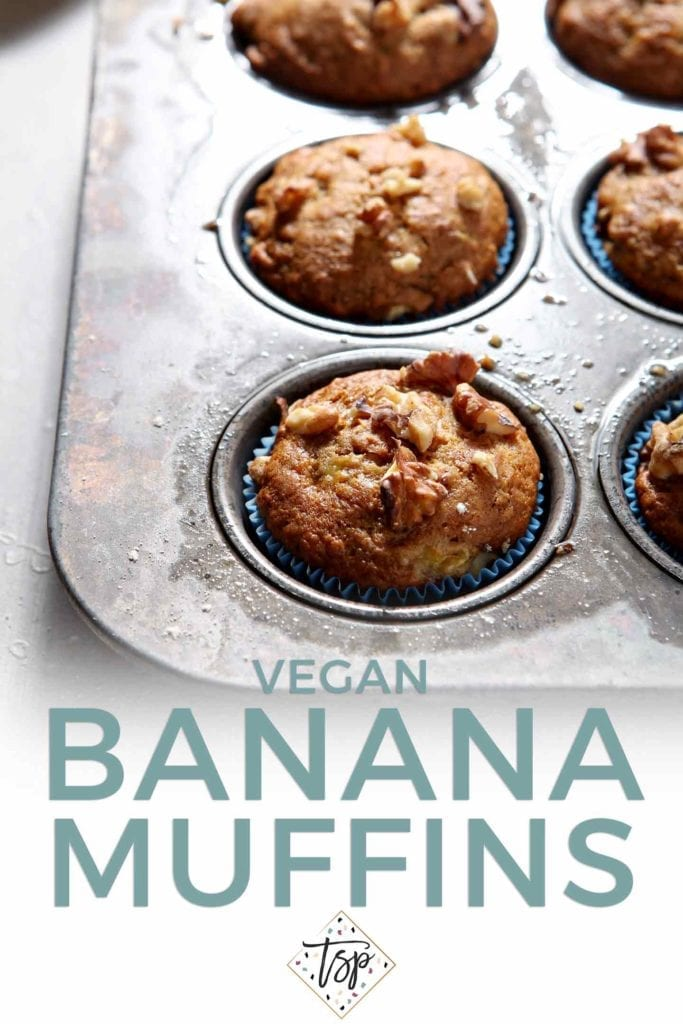Pinterest graphic (with text) for Vegan Banana Muffins, featuring baked muffins in a muffin tin before serving.