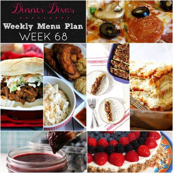 Square graphic for Dinner Divas Weekly Meal Plan 68, featuring images of all seven recipes