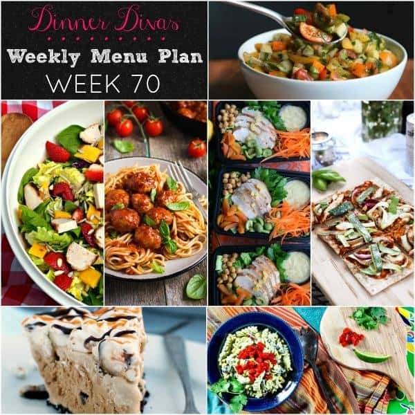 Square collage for Dinner Divas Weekly Meal Plan 70, featuring all seven recipes