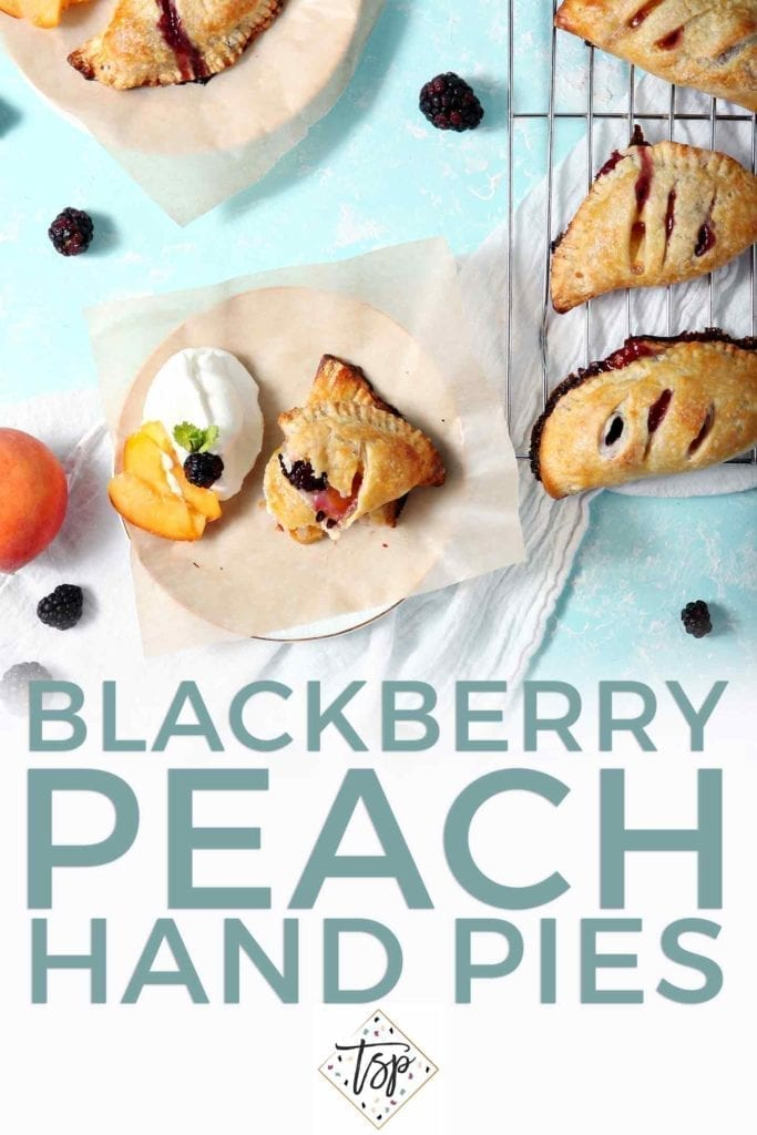 Pinterest graphic for Blackberry Peach Hand Pies, featuring an overhead image of the final pies before eating and text