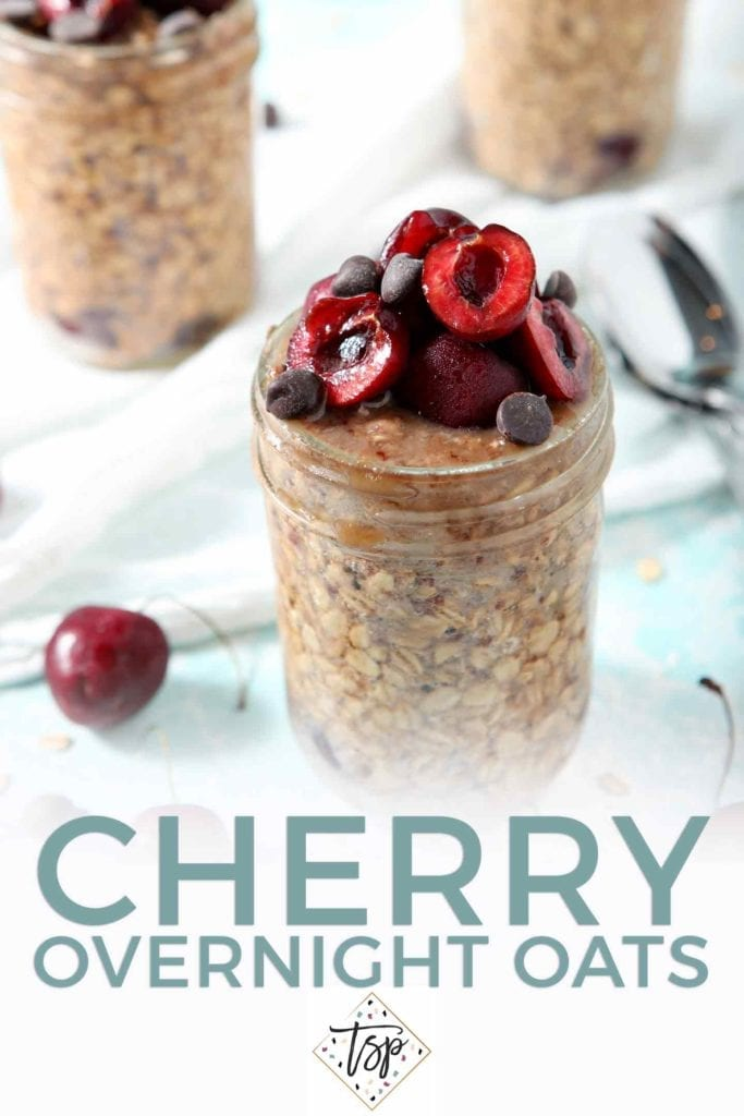 Pinterest image for Cherry Overnight Oats, featuring a final shot of the overnight oats, topped with more cherries and dark chocolate chips, and text
