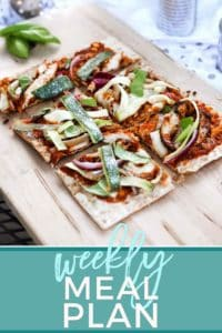 Pinterest graphic for Dinner Divas Weekly Meal Plan 70, featuring BBQ Chicken Flatbread and Pinterest text