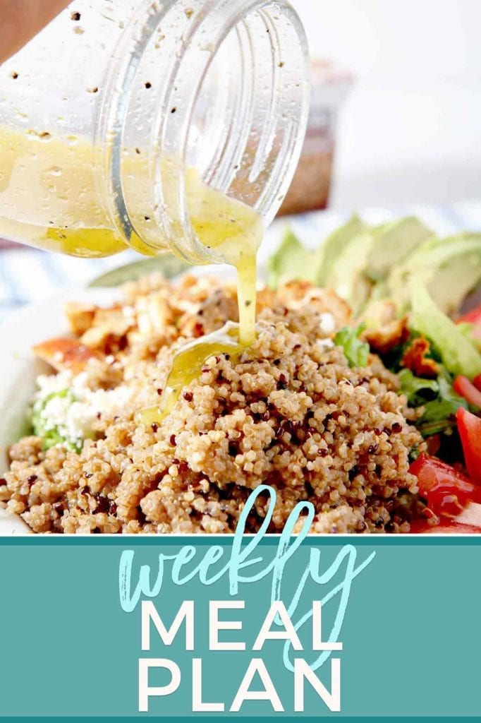 Pinterest graphic for Dinner Divas Weekly Meal Plan 71, featuring Summer Quinoa Salad and Pinterest text