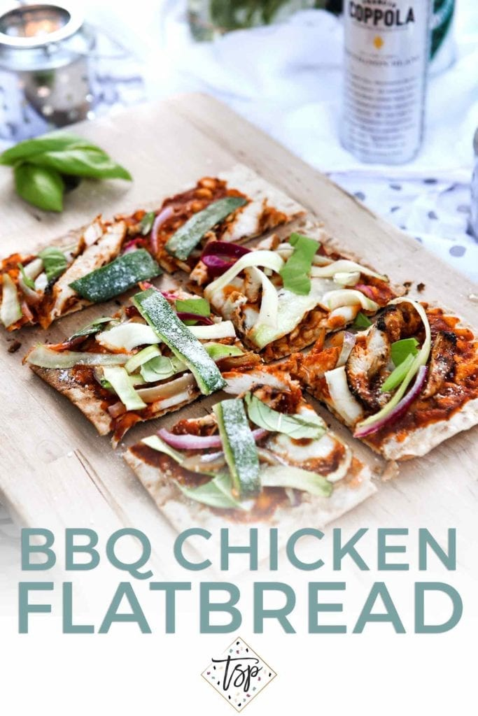 Pinterest graphic for Grilled BBQ Chicken Flatbread, featuring text and a close-up of the final flatbread