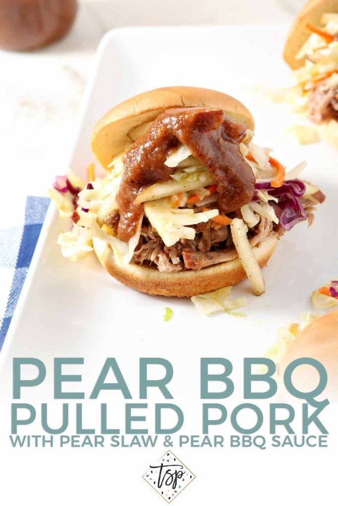 Pinterest graphic for Pear BBQ Pulled Pork, featuring a made sandwich