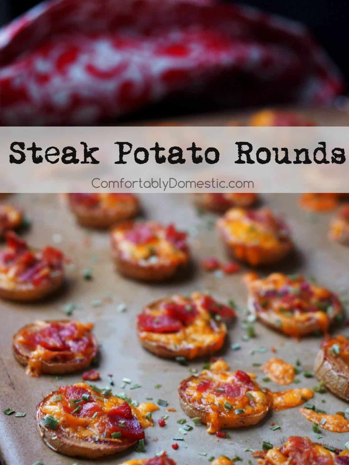 A baking sheet lined with Steak Potato Rounds is shown with text
