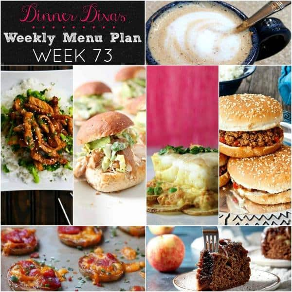 Collage for Dinner Divas Weekly Meal Plan 73, featuring all seven recipes