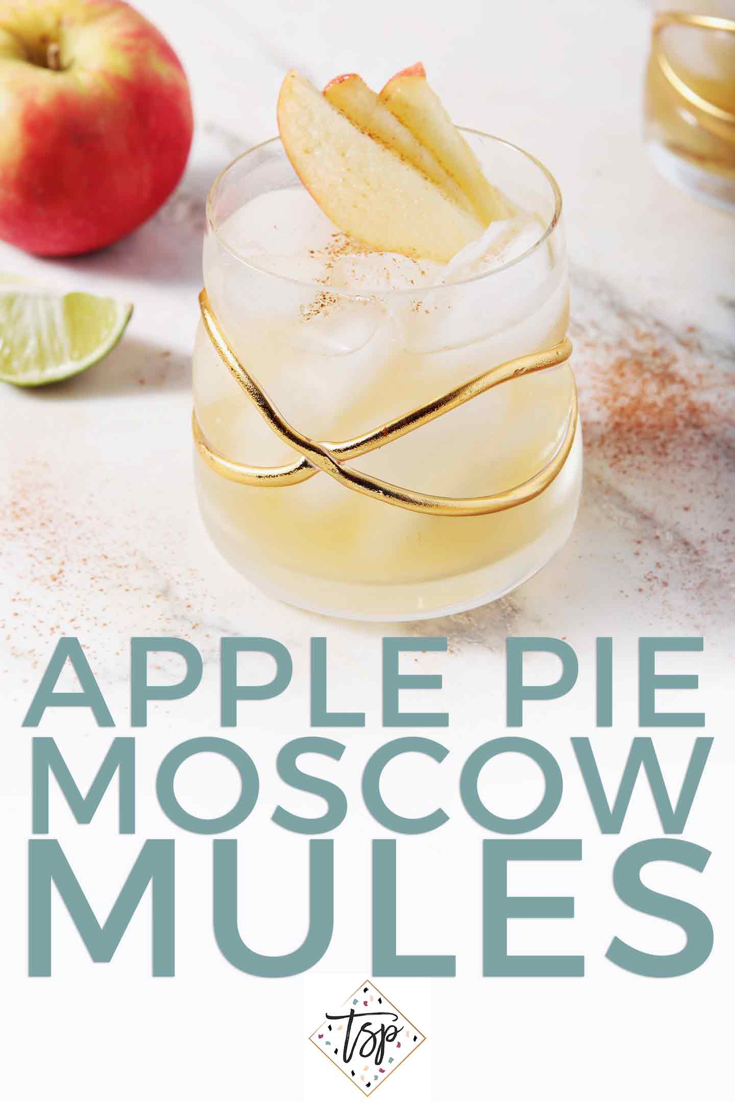 Pinterest image of Apple Pie Moscow Mule, featuring text and a close up of the final mule