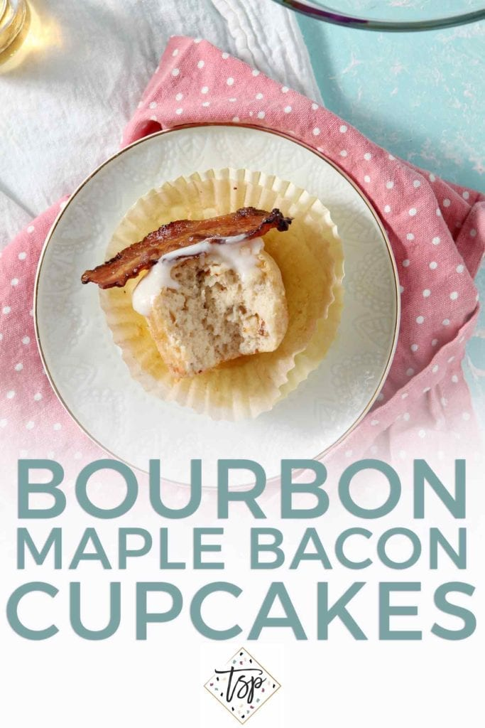 Pinterest graphic for Bourbon Maple Bacon Cupcakes, featuring a close up of a bitten-into cupcake and Pinterest text