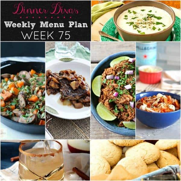 Collage photo for Dinner Divas Weekly Meal Plan 75, featuring all seven recipes