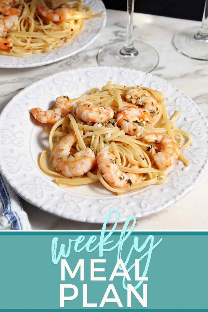 Pinterest photo for Dinner Divas Weekly Meal Plan 76, featuring a photo of a bowl of Lemon Shrimp Pasta