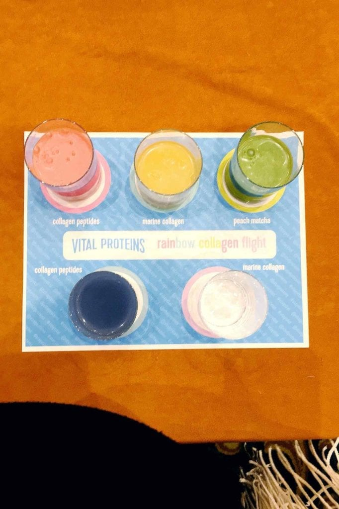 A flight of collagen drinks sits on a table at SproutsFest in Dallas