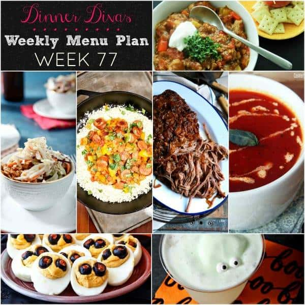 Pinterest collage for Dinner Divas Weekly Meal Plan 77, featuring all seven recipes