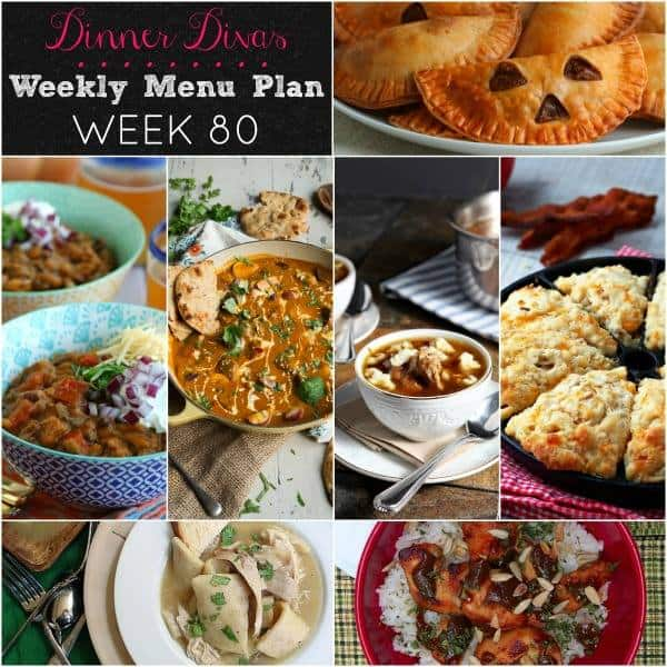 Collage photo for Dinner Divas Weekly Meal Plan 80, featuring all seven recipes