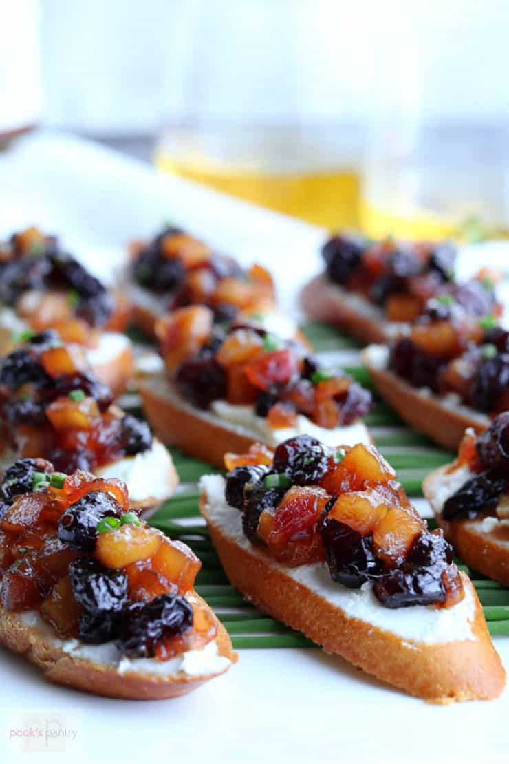 Close up of Apple Chutney Bruschetta, an easy fall appetizer to make for a crowd or an at-home date night