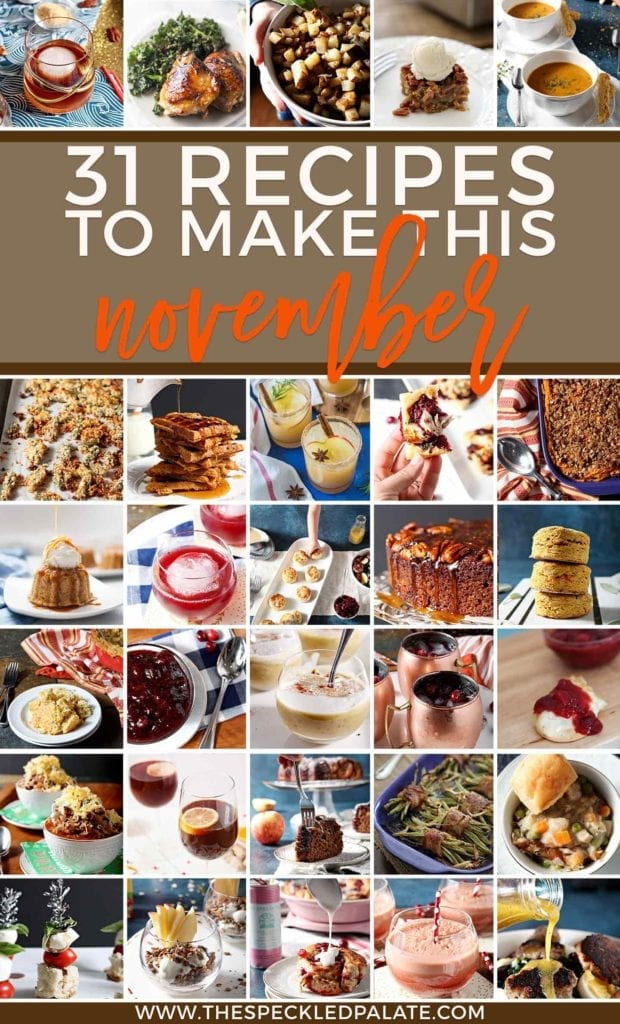 Pinterest collage for Square collage for Monthly Meal Plan: 30 Recipes to Make in November 2018, featuring all 30 recipes