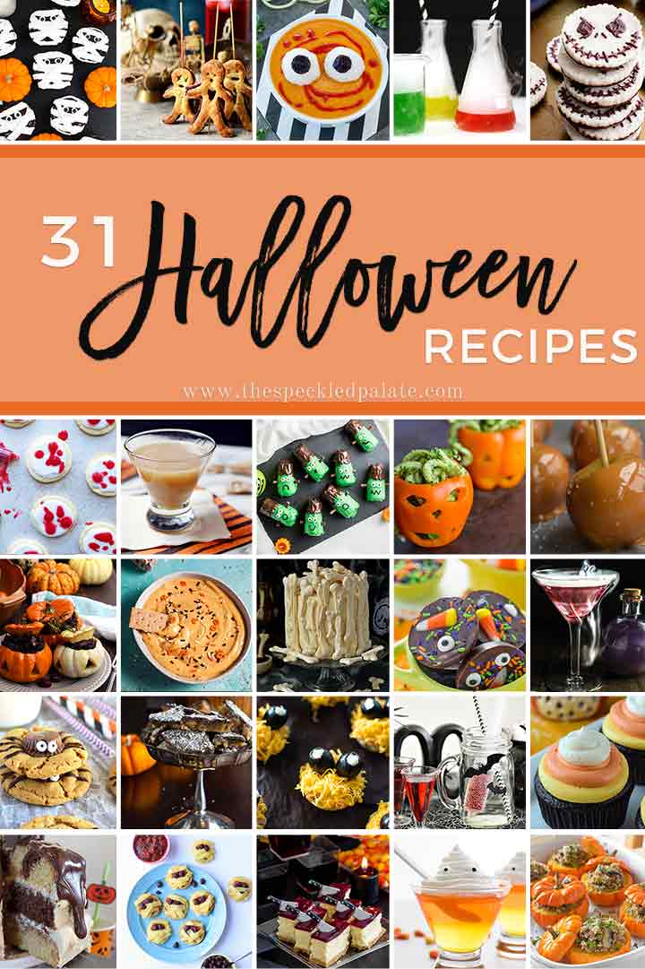 Collage for 31 Halloween Recipes, featuring several recipes and text