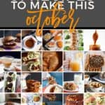 Pinterest graphic for Monthly Meal Plan: 31 Recipes to Make in October 2018, featuring 30 of the 31 total recipes