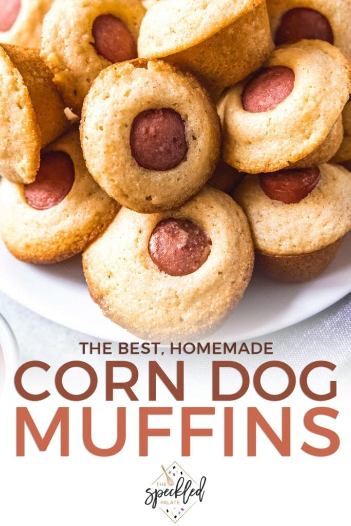 Close up of a plate of Mini Corn Dog Muffins with the text 'the best, homemade corn dog muffins'