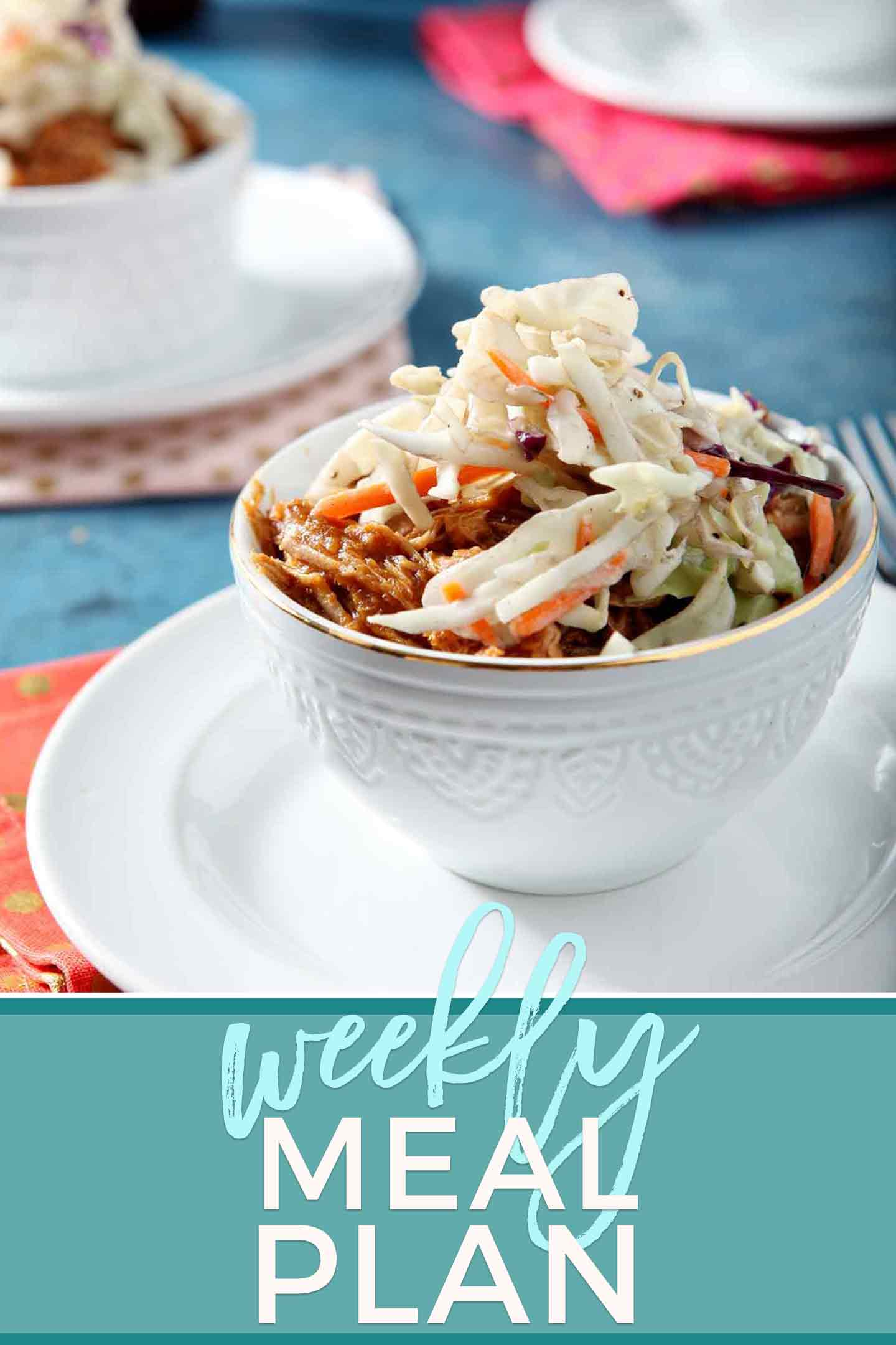 Pinterest photo for Dinner Divas Weekly Meal Plan 77, featuring a photo of a bowl of Pumpkin Pulled Pork Bowls
