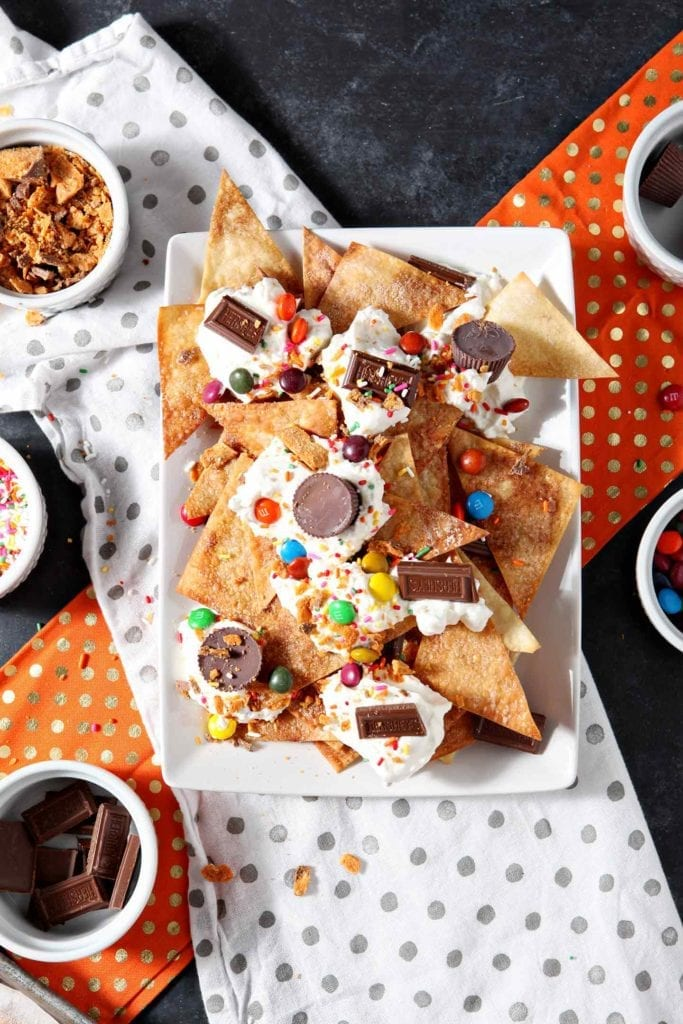 A platter of Halloween Dessert Nachos are shown from above