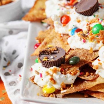 Close up of a platter of Halloween Dessert Nachos