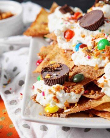 Close up of a platter of Halloween Dessert Nachos