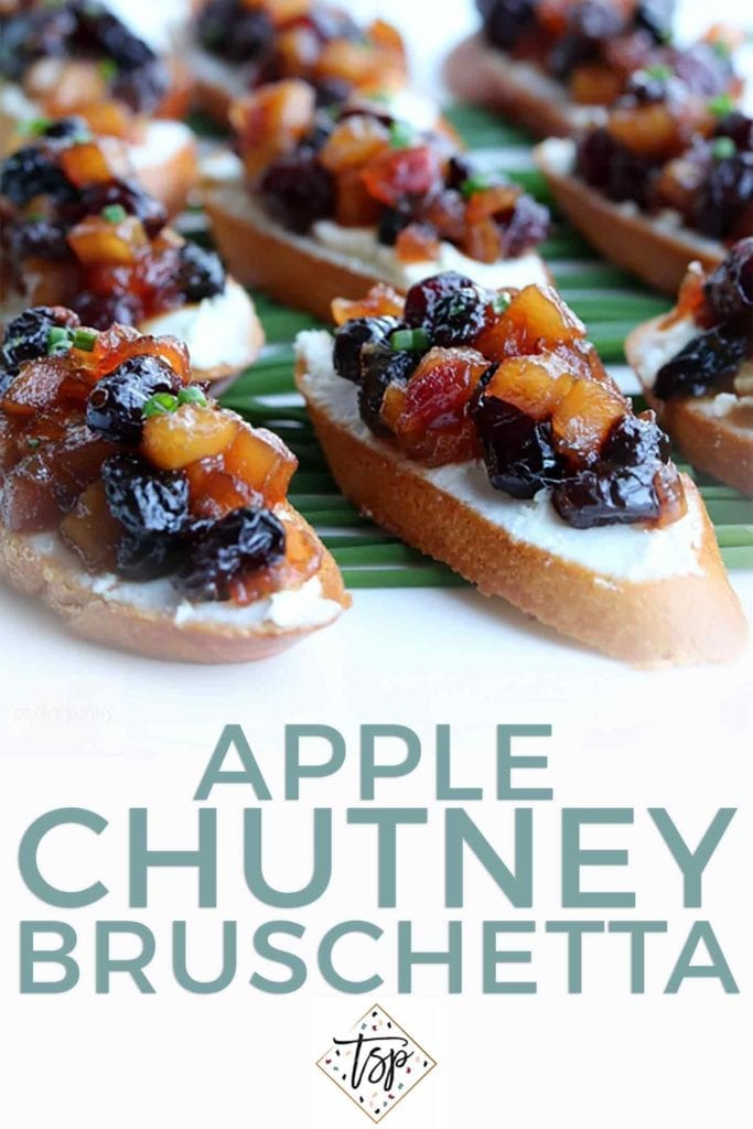 Pinterest graphic of Apple Chutney Bruschetta, featuring a close up of the final bruschetta and text