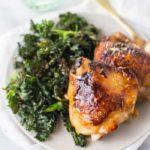 Honey Garlic Chicken Thighs with Crispy Kale (Paleo)