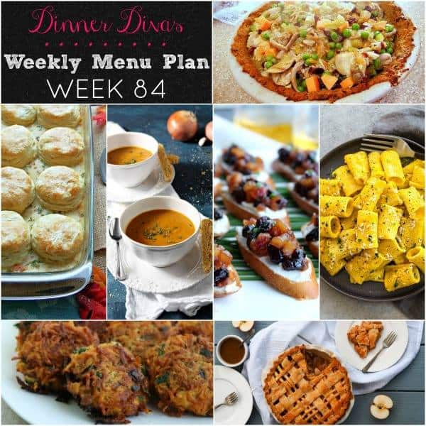 Collage for Dinner Divas Weekly Meal Plan 84, featuring all of the seven recipes