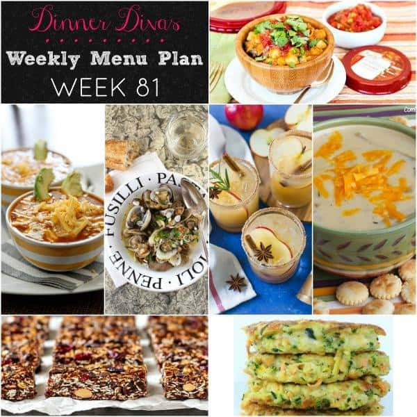 Collage for Dinner Divas Weekly Meal Plan 81, featuring all seven recipes