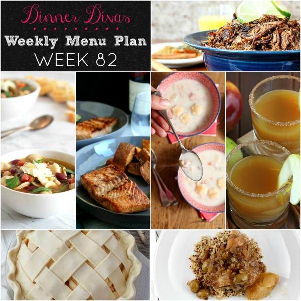 Collage for Dinner Divas Weekly Meal Plan 82, featuring all seven recipes