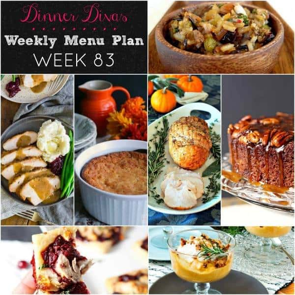 Dinner Divas Weekly Menu Plan Week 83 collage, featuring all seven recipes