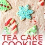 Christmas tea cakes from above, after decorating, with Pinterest text