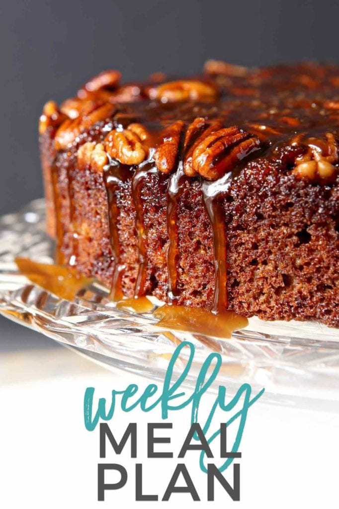 Pinterest photo for Dinner Divas Weekly Meal Plan 83, featuring a photo of a Praline Pumpkin Upside Down Cake