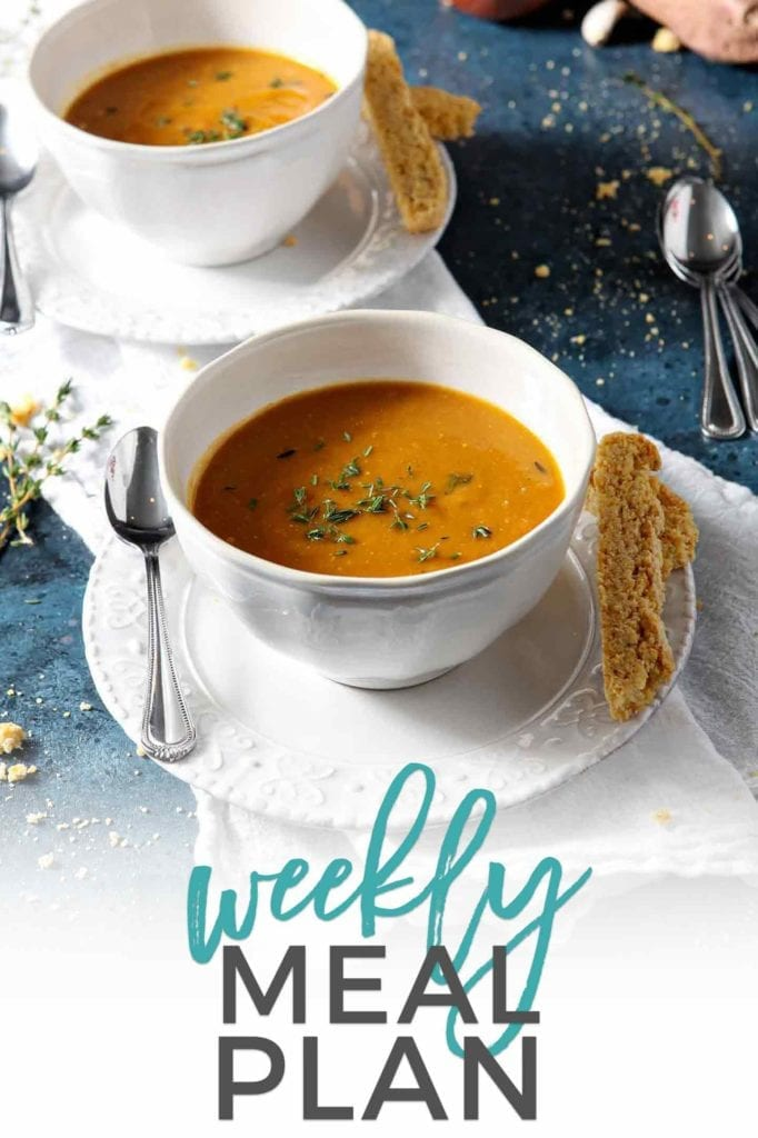 Pinterest photo for Dinner Divas Weekly Meal Plan 84, featuring a photo of a Sweet Potato Bisque