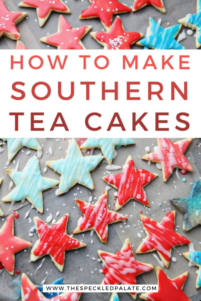 Patriotic tea cake cookies shaped as stars, with Pinterest text