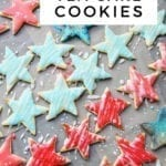 Overhead of star tea cake cookies, with Pinterest text