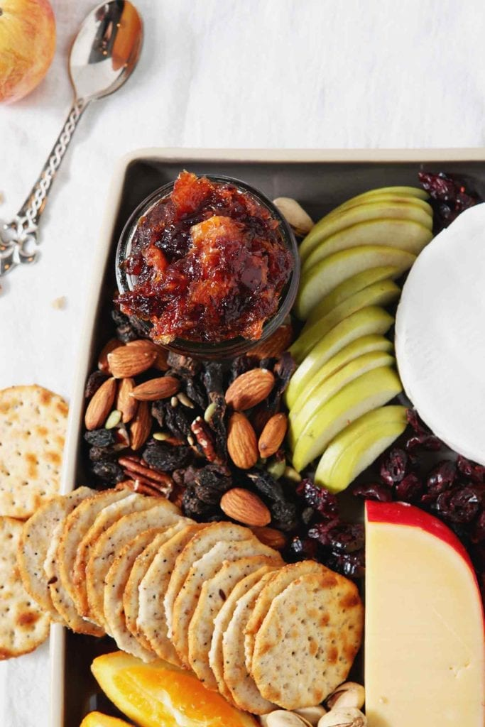 Overhead image of Orange Cranberry Compote on a Thanksgiving Cheese Board