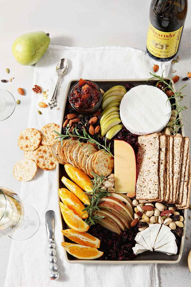 Overhead image of a Thanksgiving Cheese Board