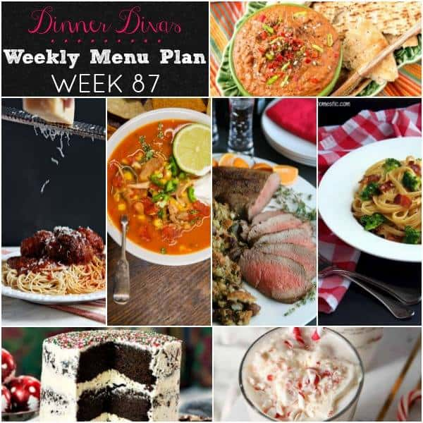 Collage for Dinner Divas Weekly Meal Plan 87, featuring all seven recipes from the week