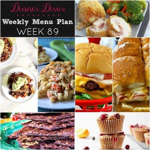Collage for Dinner Divas Weekly Meal Plan 89, featuring all seven recipes