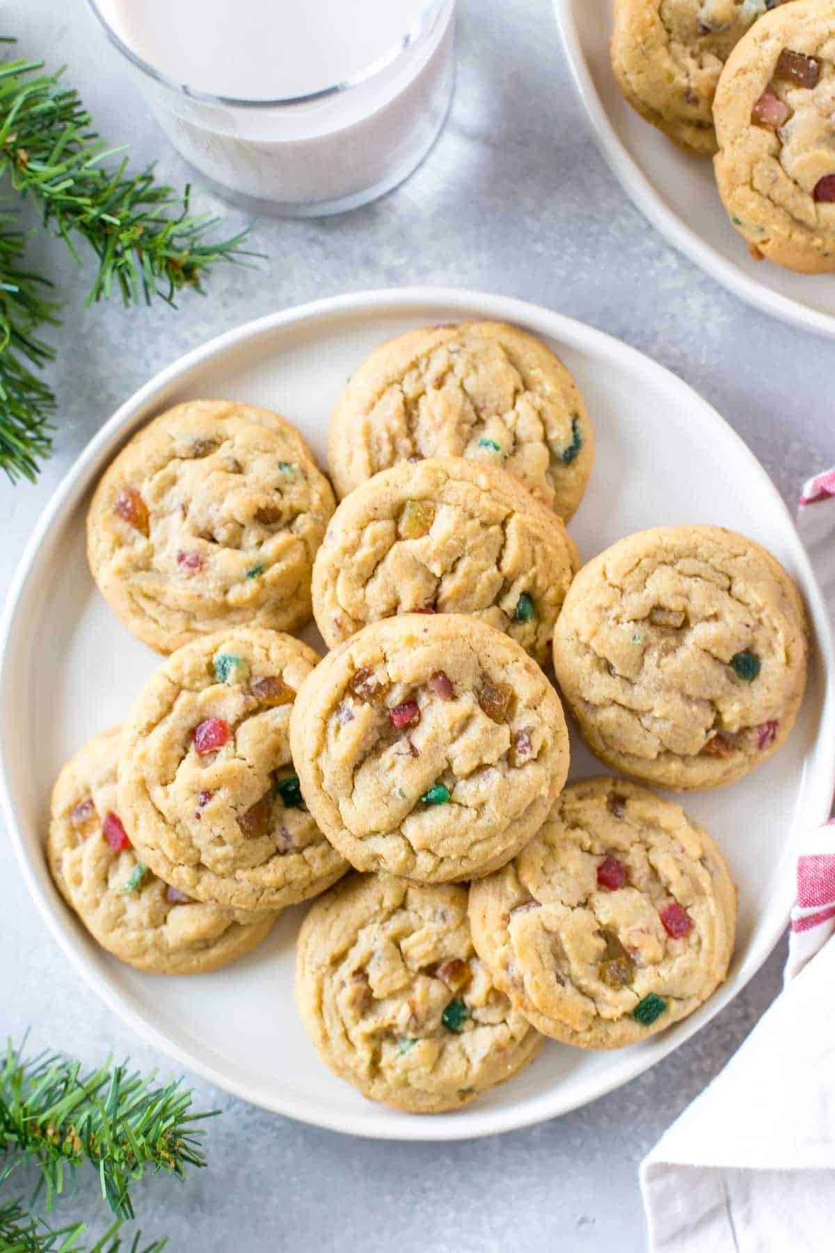 A plate of Fruitcake Cookies are shown from above