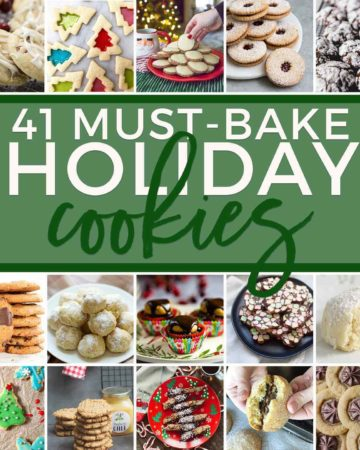 Square collage of 41 Holiday Cookie Recipes You've Gotta Bake This December, featuring 30 images of cookies