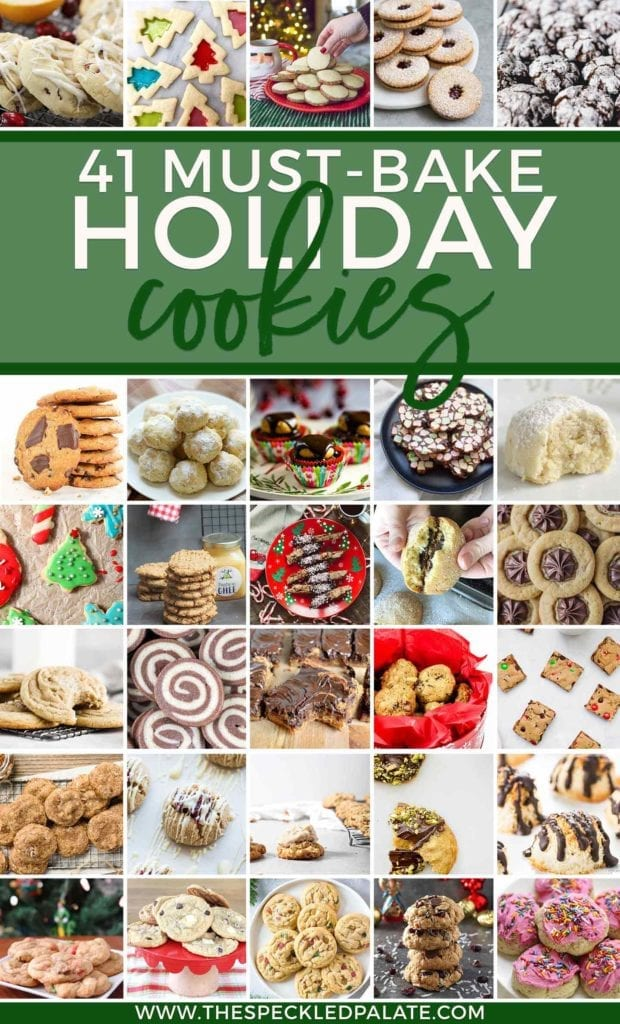 Pinterset collage of 41 Holiday Cookie Recipes You've Gotta Bake This December, featuring 30 images of cookies