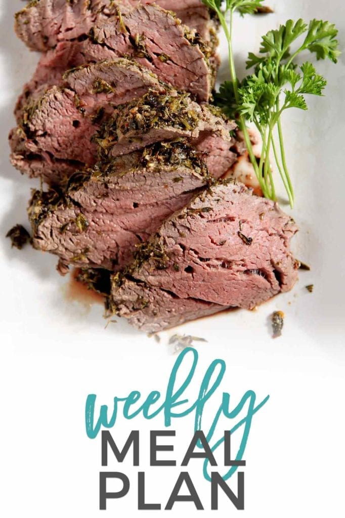 Pinterest photo for Dinner Divas Weekly Meal Plan 88, featuring a photo of Herb Crusted Beef Tenderloin.
