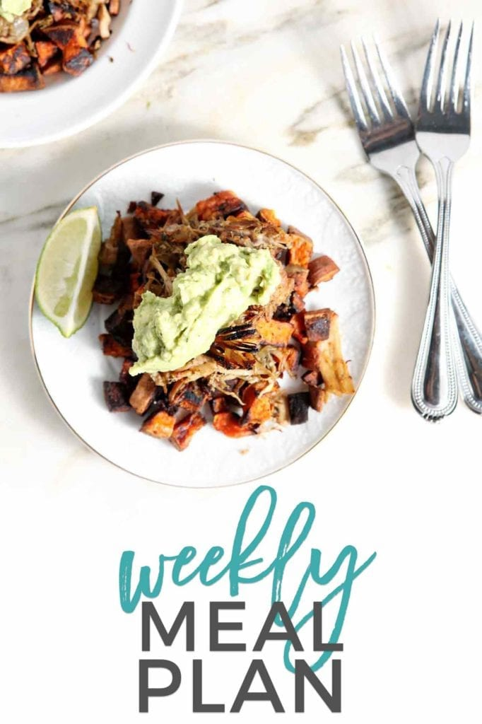 Pinterest image for Dinner Divas Weekly Meal Plan 89, featuring Whole30 Slow Cooker Pork Carnitas Plates